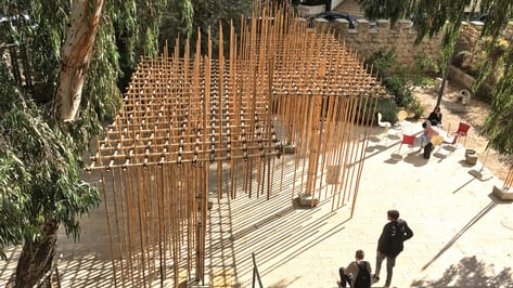 Featured image of Students Use 3D Printing to Create Suspended Bamboo Pavilion in Jerusalem