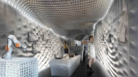 """Featured image of London's """"Bottletop"""" Store Recycles 60.000 Bottles for 3D Printed Interior"""