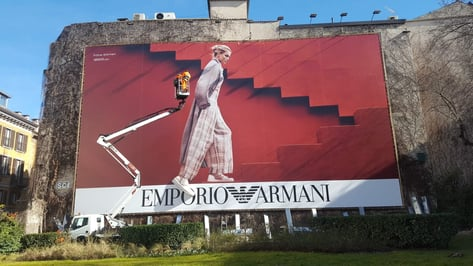 Featured image of Emporio Armani Steps Out with 3D Printed Billboard