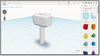 A hammer 3D model on Tinkercad.