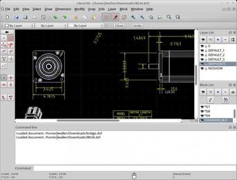 LibreCAD interface.
