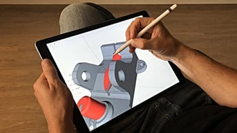 The Shapr3D app being used on iPad.