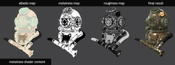 Texture maps applied to a 3D model.