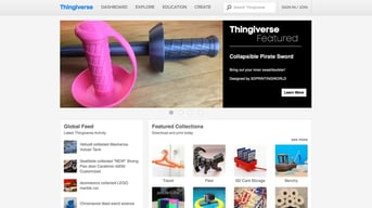 Thingiverse, a website hosting thousands of free 3D models.