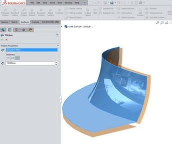 You can create complex surfaces on your model in SolidWorks.
