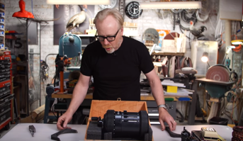 The MythBusters hero putting together the Curta calculator.