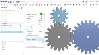 Onshape's Spur Gear feature.