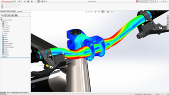 Stress-testing in SolidWorks.