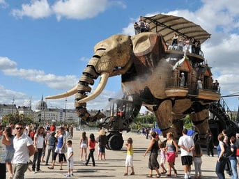 A giant elephant puppet which the LeFabShop Elephant is based on.