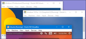 Running three different operating systems using VirtualBox.