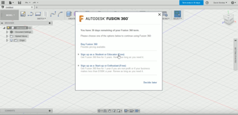 The Fusion 360 registration page.