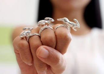 A common application for 3D printed silver is jewelry.
