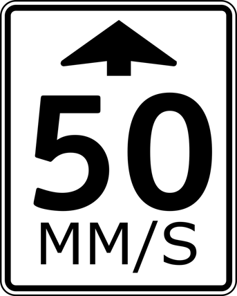 Speed limit sign in mm/s