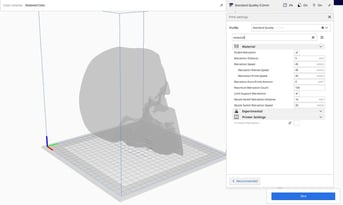 The list of retraction settings in Cura under