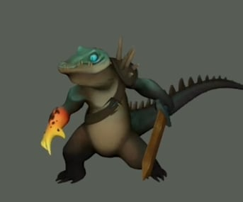 An animated Lizard Warrior model