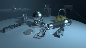 Various hard-surface objects rendered in Maya