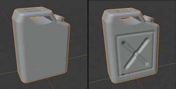 A gas can model, before and after adding detail with the dyntopo option