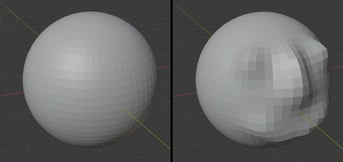 Before and after using the draw sculpt tool