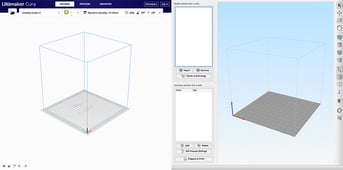 Initial screens for Cura (left) and Simplify3D (right)