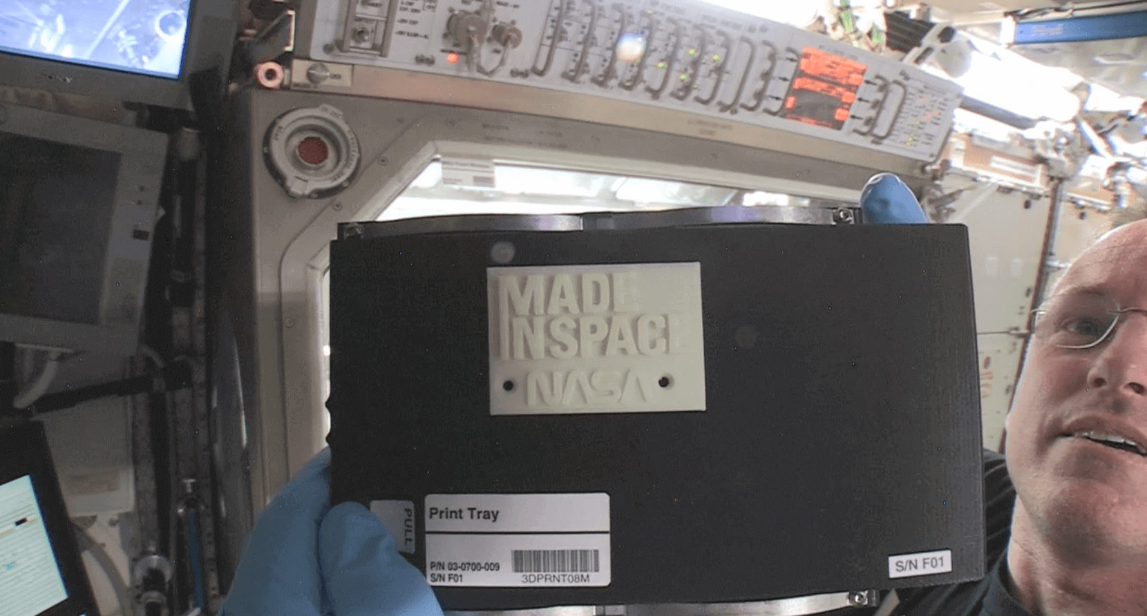 This is the first 3D printed piece from the ISS