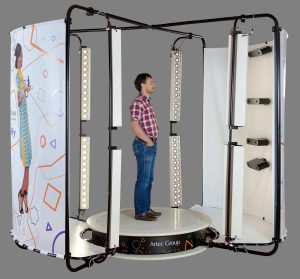 The Shapify Booth by Artec can create 3D models in 12 seconds using 4 integrated 3D scanners (image: Artec)