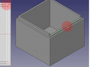 Select the outward rim of your box to create a fillet.