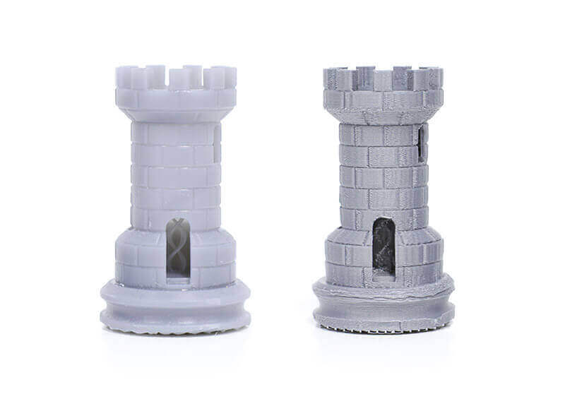 Left: Printed on y Form 1+ SLA printer, right: printed on a FDM printer, both at 0.1 layer thickness (source: Formlabs)
