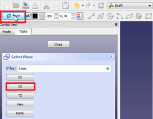 Click on set/unset working plane and select XZ-Plane