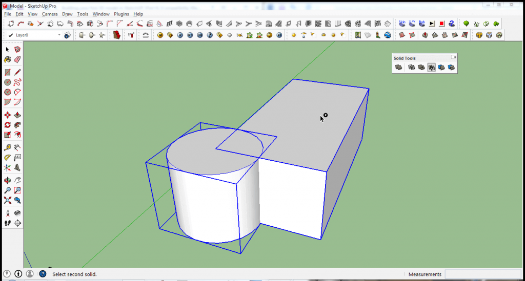 Develop your 3D modeling skills for free: In SketchUp, you can join solid objects or subtract (in this example) the cylinder from the rectangular solid.