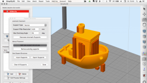 Simplify3D automatically adds support pillars - you can remove every single one or add new pillars.