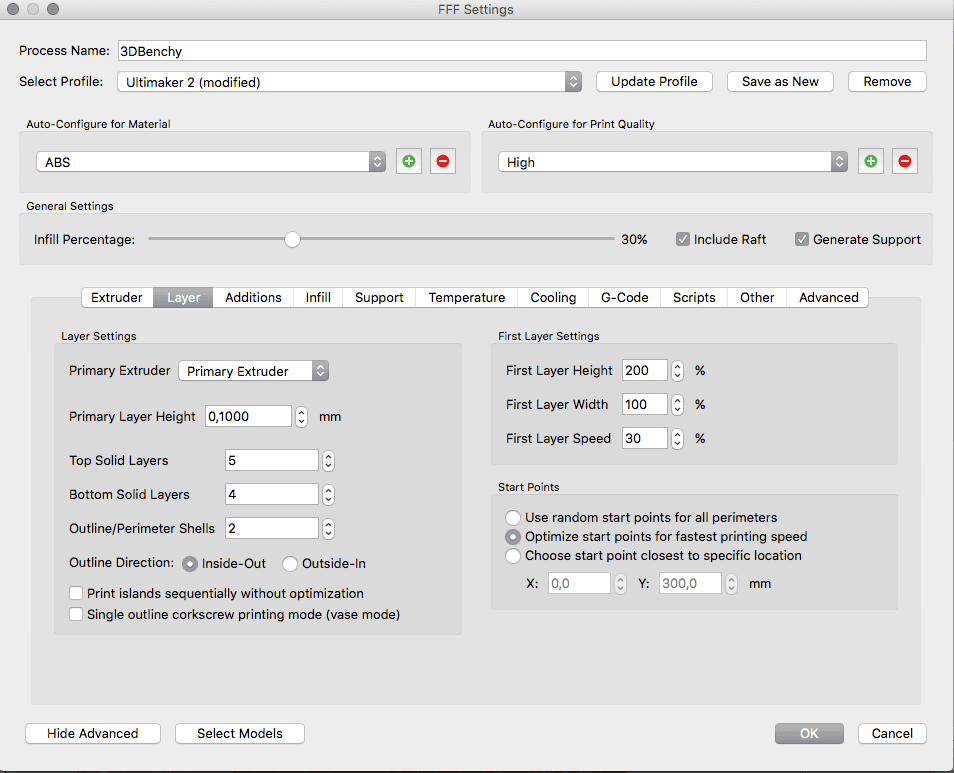 The Advanced Process Settings allow you to tweak every detail of the printing process.