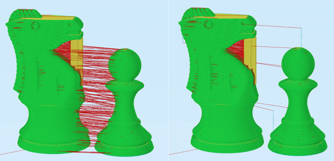 Continuous (left) vs. sequential printing (right); image: Simplify3D.com
