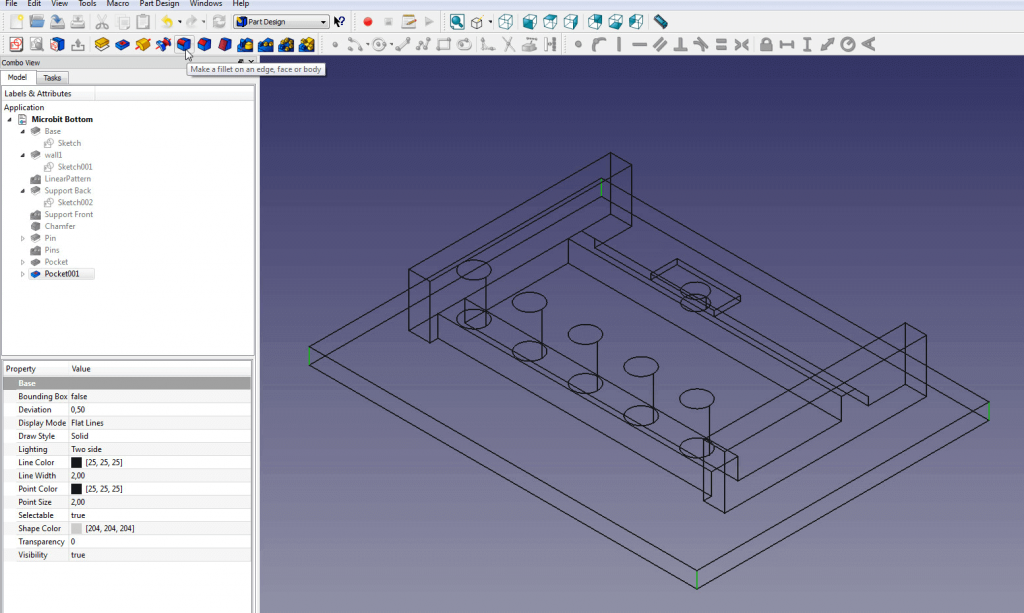Change to Wireframe view before using the Fillet tool.
