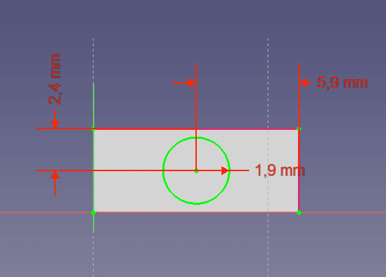 Draw a circle with 1.9mm radius.
