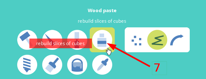 Using the Wood paste tool you can build or rebuild parts.