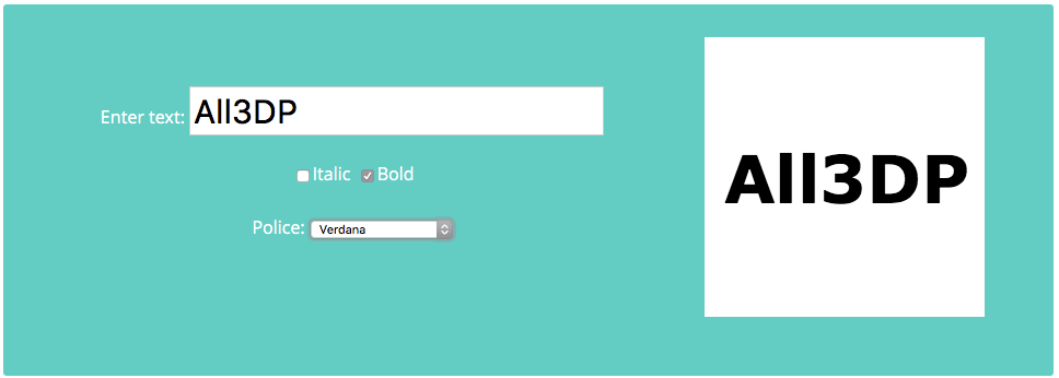 Just enter the text and select a font and font attributes - 3D Slash does the rest.