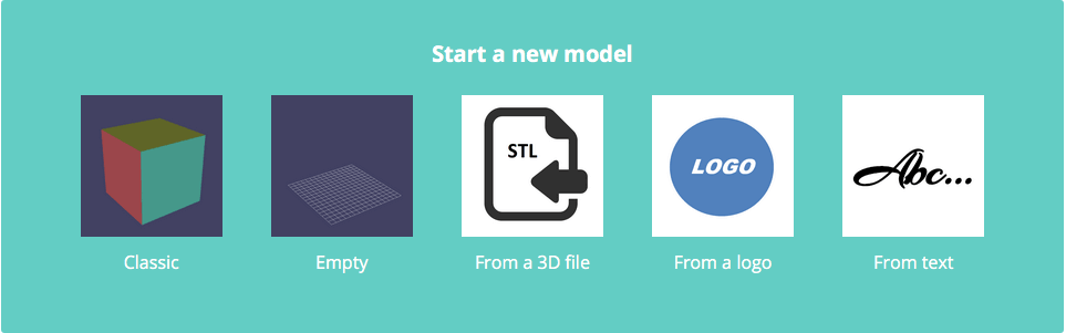 The five Start options when creating a new model in 3D Slash