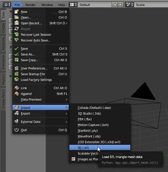 Free STL editors: Import a file.