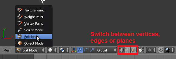 Free STL editors: Switch through the different modes.