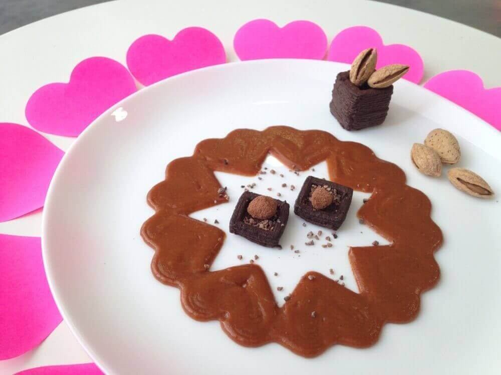 Valentine's Day Chocolate Mousse and Caramel Sauce Circle of Hearts