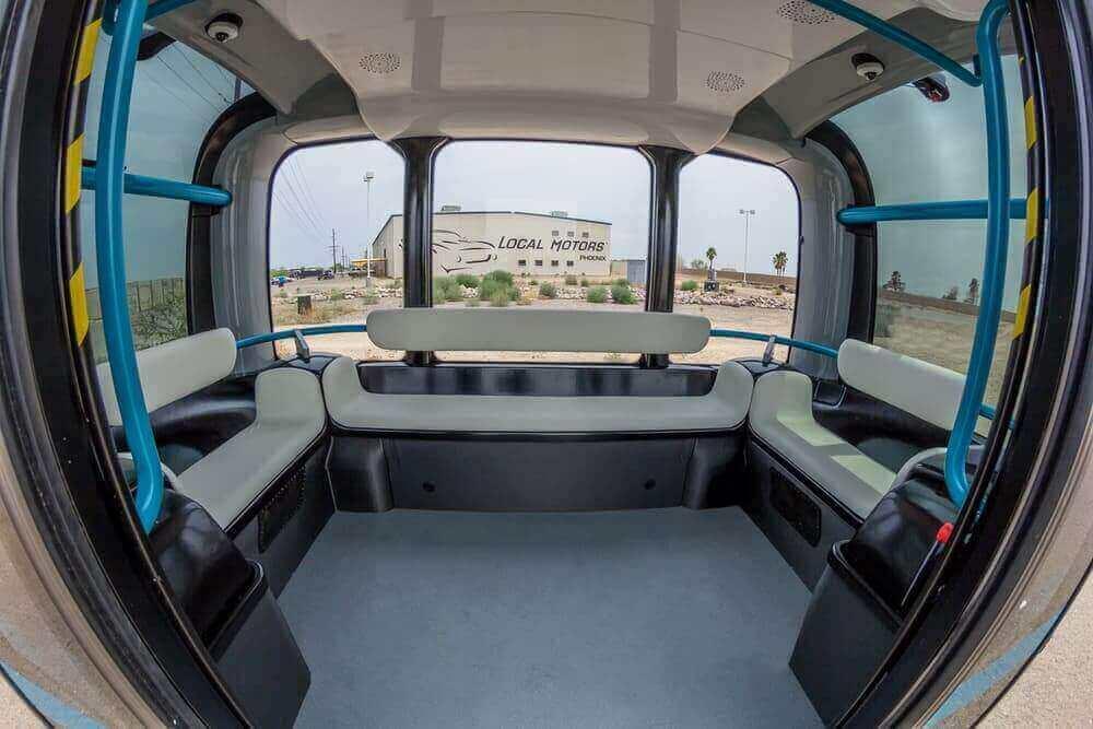 3D Printed Autonomous Bus, Olli's Modern Interior (Image: Local Motors)