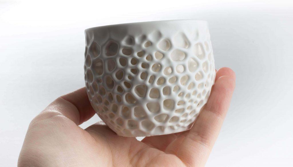 3D Printed Porcelite Ceramic Resin results (Image: Nervous System)