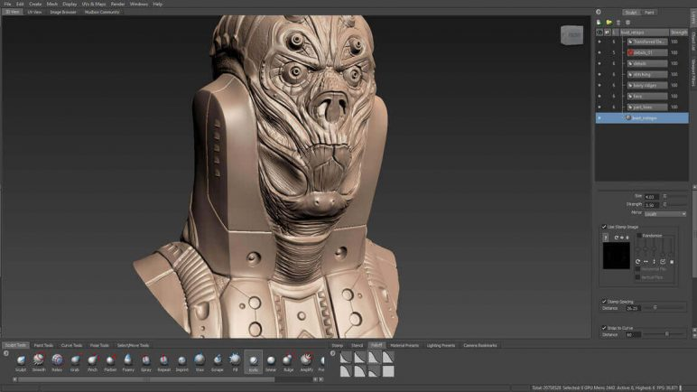 Image of 3D Programm/ 3D-Zeichenprogramm/ 3D-CAD-Freeware & Software / 3D-Modeling-Software: Mudbox