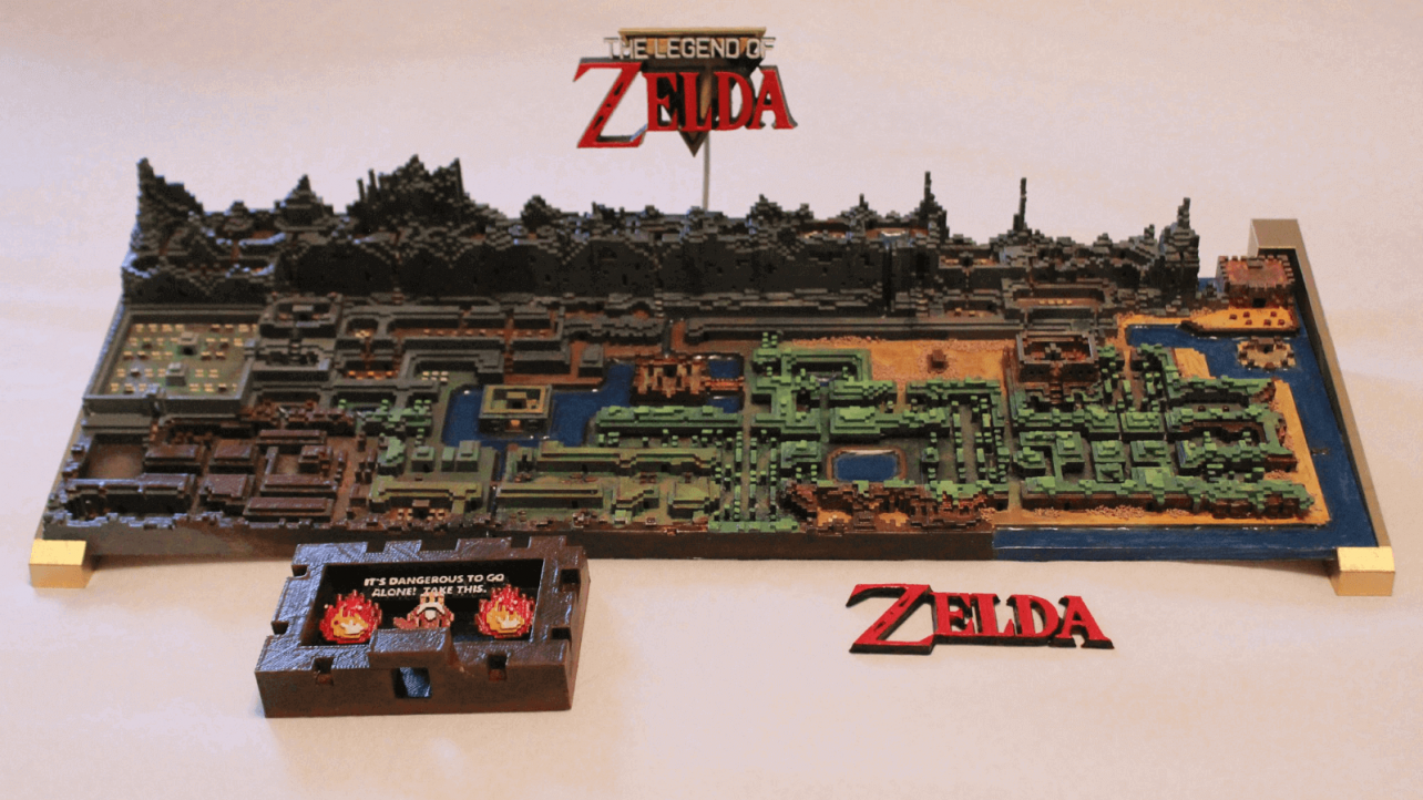 this stunning 3d printed zelda map was made in minecraft all3dp