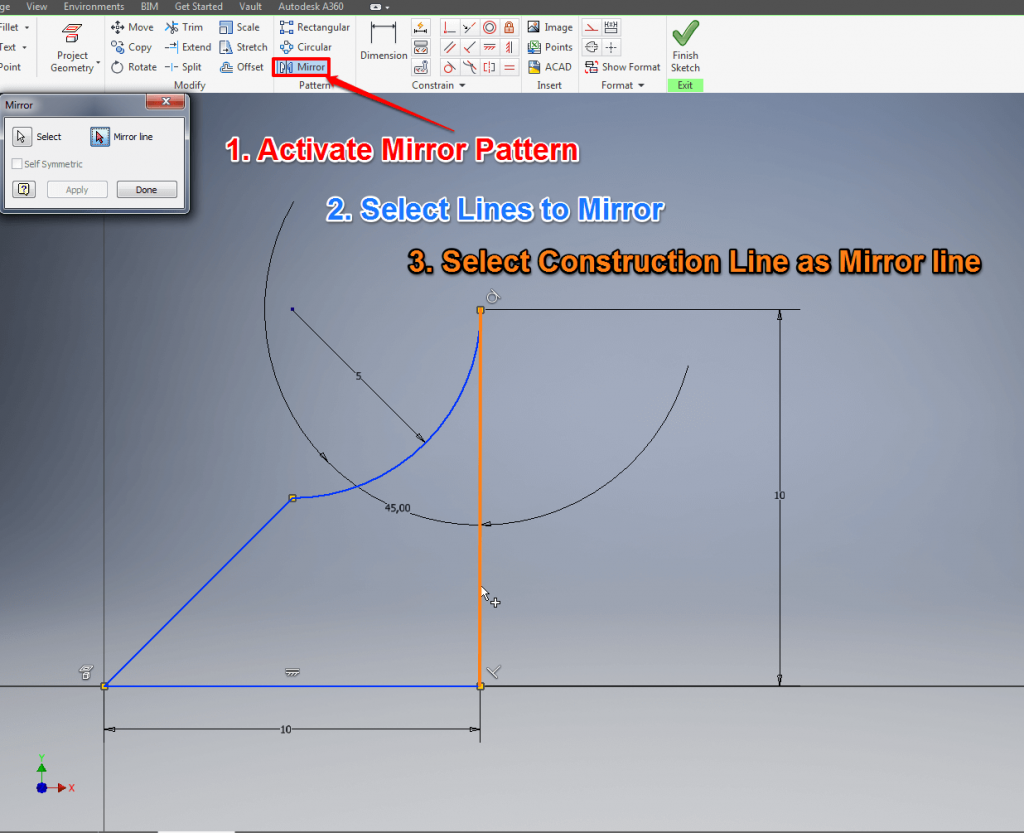 Autodesk Inventor Tutorial 3 Easy Steps For Beginners All3dp Engineering Tutorials Oneline Diagrams Mirror Sketch