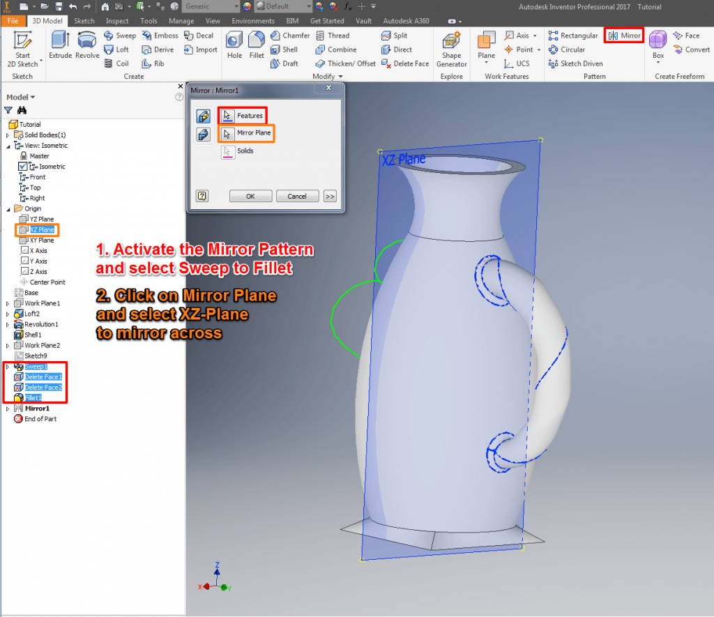 Autodesk Inventor Tutorial: Mirrow Objects