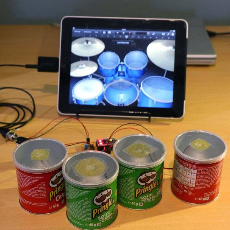 Image of Homemade Instruments to DIY or 3D Print: Pringle Can MIDI Drums