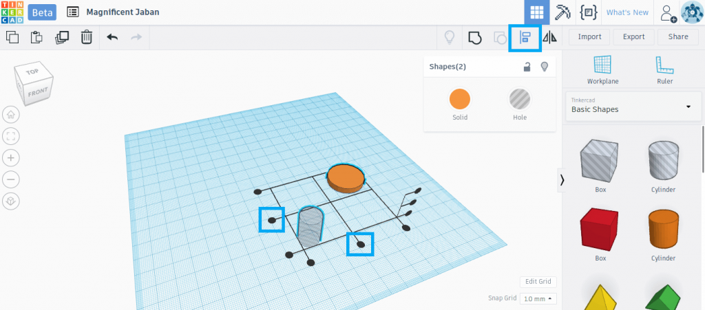 The black alignment handles help align two shapes in Tinkercad