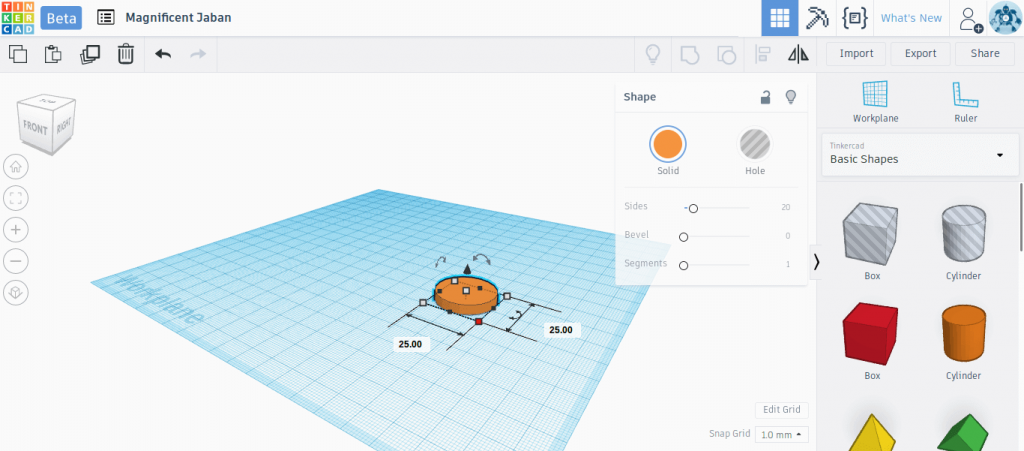 We changed the dimensions of the Tinkercad cylinder to make a disk with diameter 25mm and height 4mm
