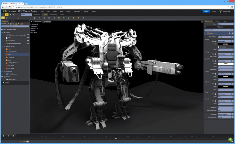 Image of 3D Programm/ 3D-Zeichenprogramm/ 3D-CAD-Freeware & Software / 3D-Modeling-Software: Clara.io